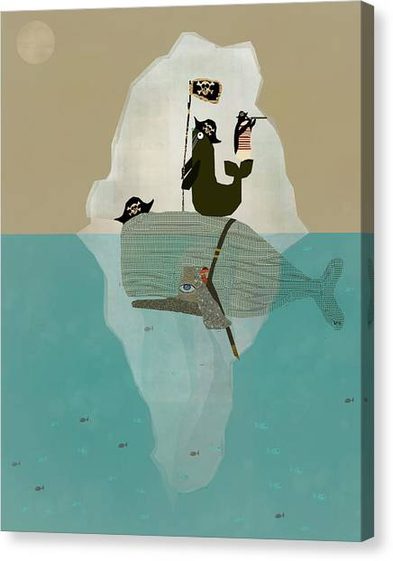 Blue Whales Canvas Print - We Are Pirates by Bri Buckley