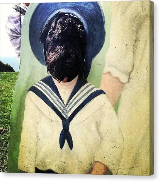 Schnauzers Canvas Print - We Do Torture My Little Ozzie by Laurena Pascoe