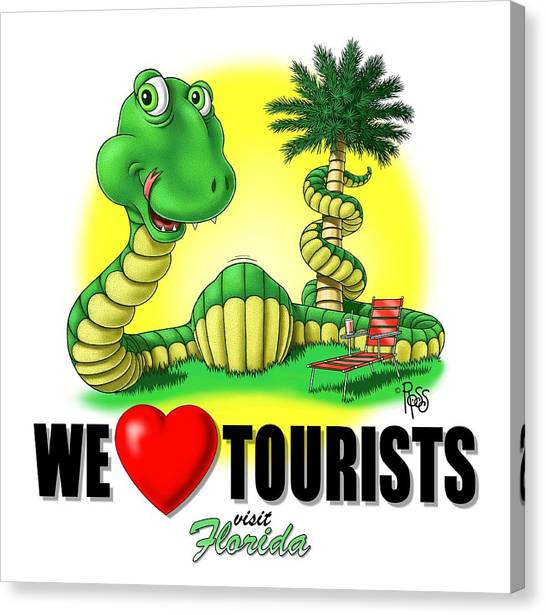 We Love Tourists Snake Canvas Print