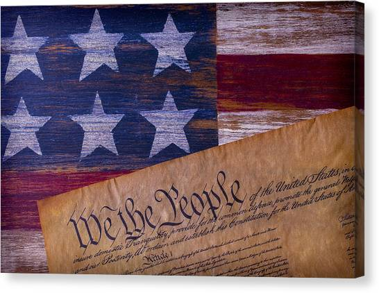 Gay Flag Canvas Print - We The People by Garry Gay