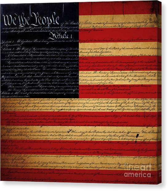 We The People - The Us Constitution With Flag - Square Canvas Print