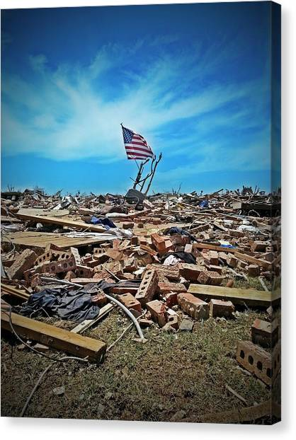 Tornadoes Canvas Print - We Will Rebuild. by Lance Kenyon