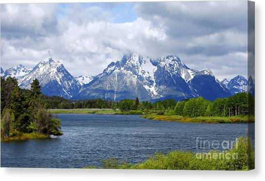 Weather On The Teton Mountain Range At Oxbow Bend Canvas Print