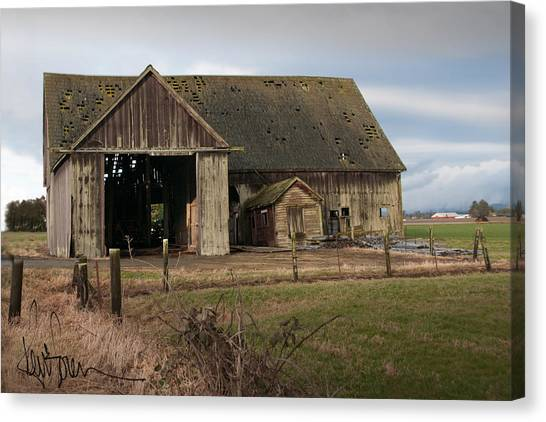 Weathered Barn Of Skagit County Canvas Print by Kent Sorensen