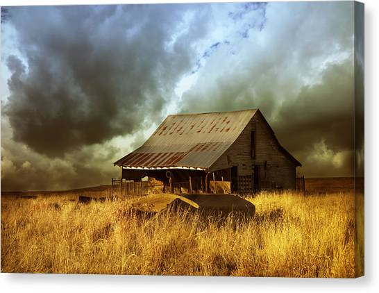 Weathered Barn  Stormy Sky Canvas Print