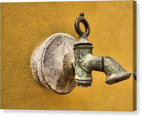 Weathered Brass Water Spigot Canvas Print