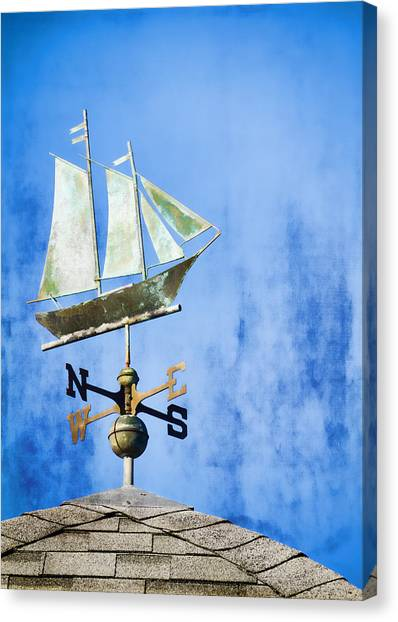 Weathered Canvas Print - Weathervane Clipper Ship by Carol Leigh