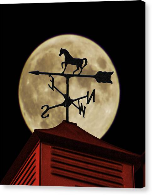 Weathervane Before The Moon Canvas Print