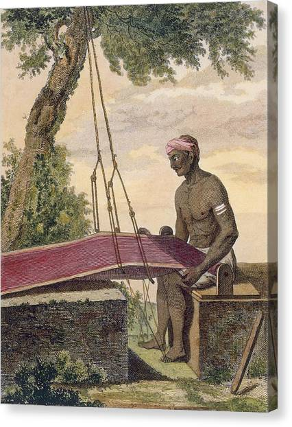 Fabric Canvas Print - Weaver Of Cloth, From Voyage Aux Indes by Pierre Sonnerat