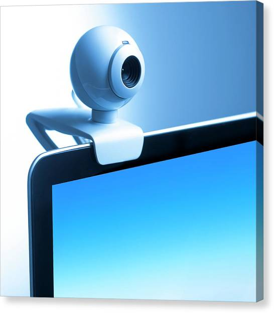 Big Brother Canvas Print - Webcam On Computer Monitor by Science Photo Library