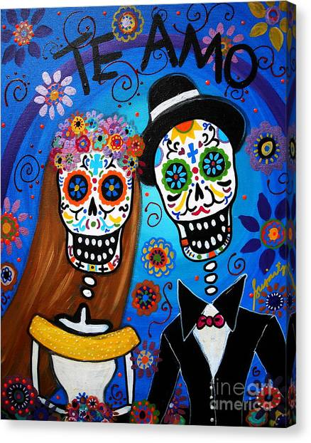 Anniversary Canvas Print - Wedding Couple  by Pristine Cartera Turkus