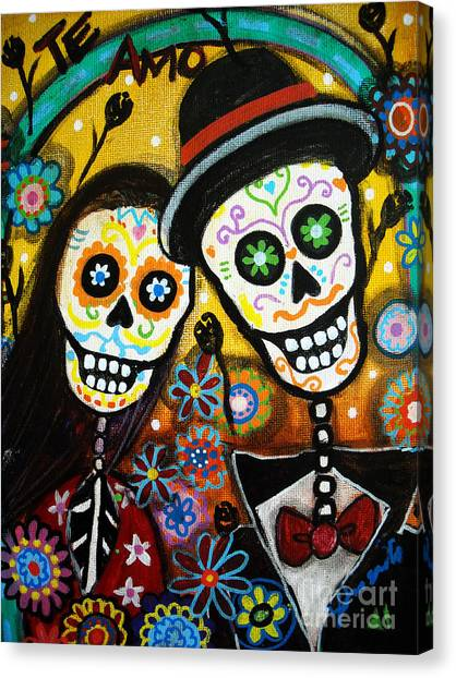 Anniversary Canvas Print - Wedding Dia De Los Muertos by Pristine Cartera Turkus