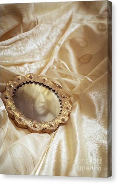 Wedding Gown Canvas Print - Wedding Dress And Mirror by Amanda Elwell