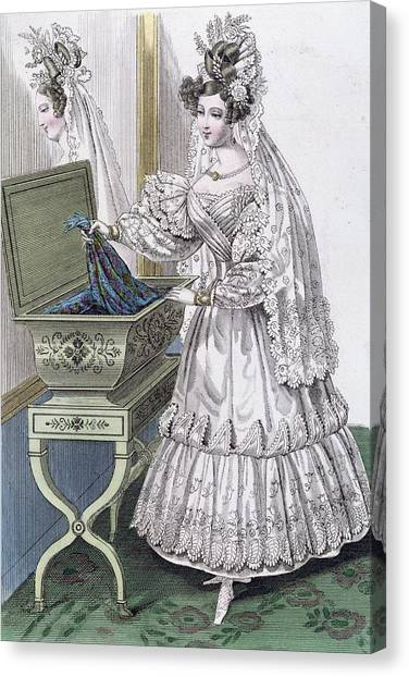 Fashion Plate Canvas Print - Wedding Dress by French School