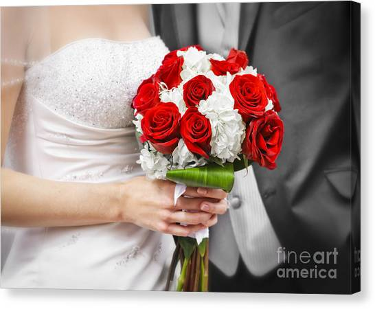 Wedding Bouquet Canvas Print - Wedding by Elena Elisseeva