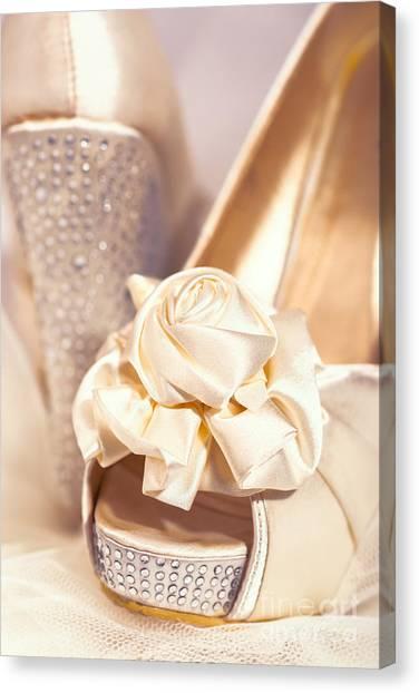 Bridal Canvas Print - Wedding Shoes by Amanda Elwell