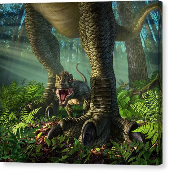 Jurassic Park Canvas Print - Wee Rex by Jerry LoFaro
