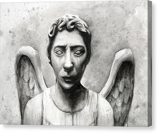 Weeping Canvas Print - Weeping Angel Don't Blink Doctor Who Fan Art by Olga Shvartsur