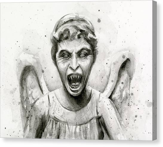 Tv Shows Canvas Print - Weeping Angel Watercolor - Don't Blink by Olga Shvartsur