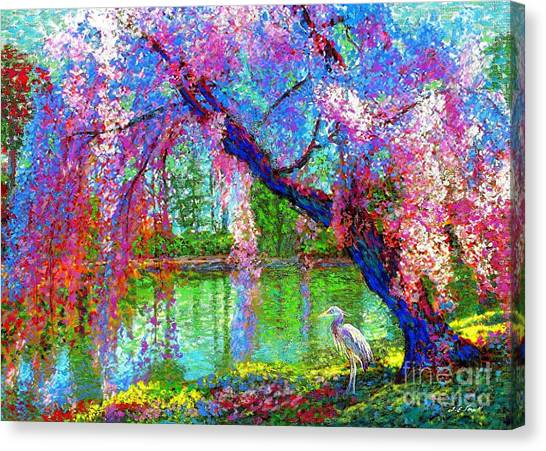 Japanese Gardens Canvas Print - Weeping Beauty, Cherry Blossom Tree And Heron by Jane Small