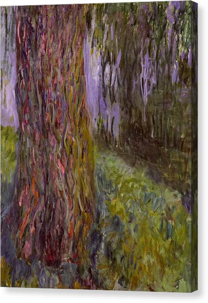 Weeping Willows Canvas Print - Weeping Willow And The Waterlily Pond by Claude Monet