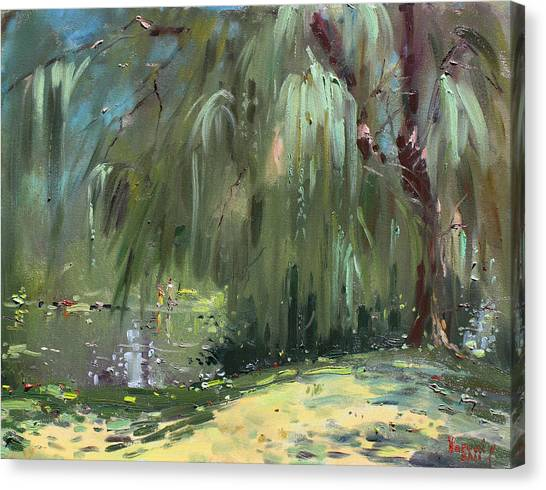Weeping Willows Canvas Print - Weeping Willow Tree by Ylli Haruni