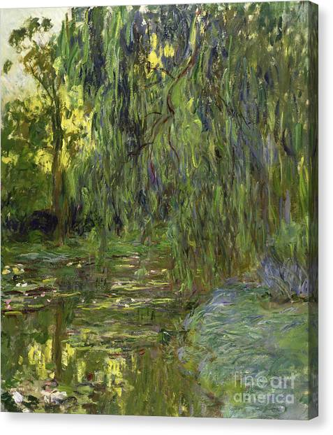 Weeping Willows Canvas Print - Weeping Willows The Waterlily Pond At Giverny by Claude Monet