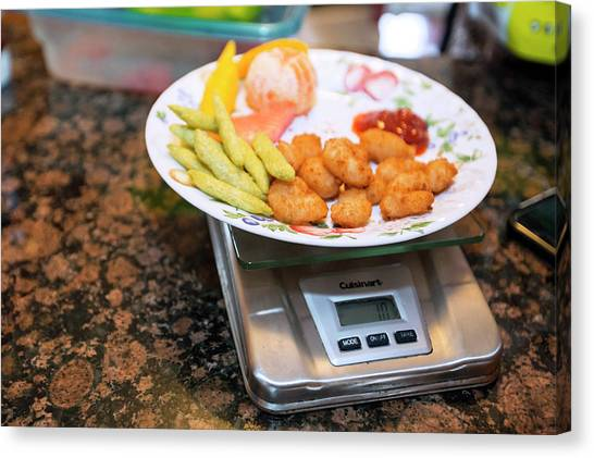 Diabetes Canvas Print - Weighing Food In Type 1 Diabetes by Jim West/science Photo Library