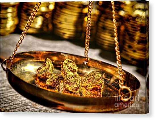 Gold Nugget Canvas Print - Weighing Gold by Olivier Le Queinec
