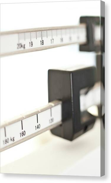 Balance Beam Canvas Print - Weighing Scale by Ian Hooton/science Photo Library