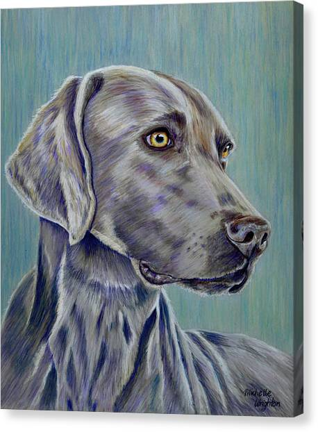 Weimaraners Canvas Print - Weimaraner Grey Ghost by Michelle Wrighton