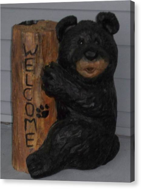 Welcome Bear Canvas Print