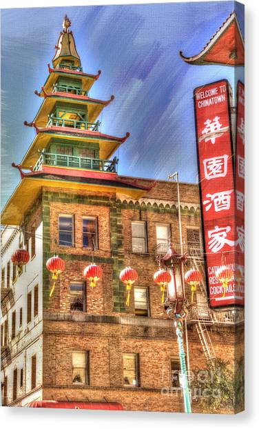 Architectural Detail Canvas Print - Welcome To Chinatown by Juli Scalzi
