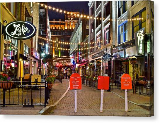 Cleveland State University Canvas Print - Welcome To East Fourth Street by Frozen in Time Fine Art Photography