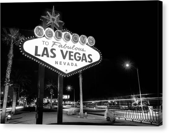 Canvas Print featuring the photograph Welcome To Fabulous Las Vegas - Neon Sign In Black And White by Gregory Ballos
