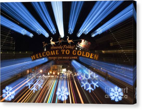 Christmas Lights Canvas Print - Welcome To Golden by Juli Scalzi