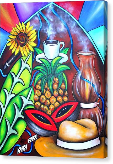 Tropical Stain Glass Canvas Print - Welcome To Here And Now by Annie Maxwell