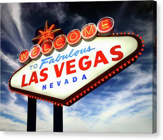 Welcome To Las Vegas Neon Sign, Low Canvas Print