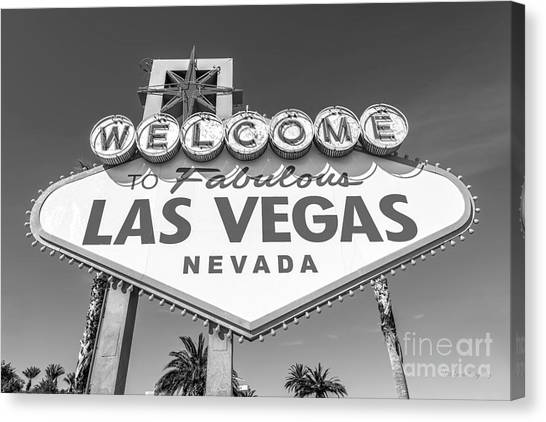 Welcome To Las Vegas Sign Black And White Canvas Print