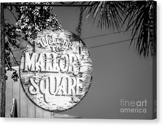 Celebration florida canvas print welcome to mallory square key west 2 black and white