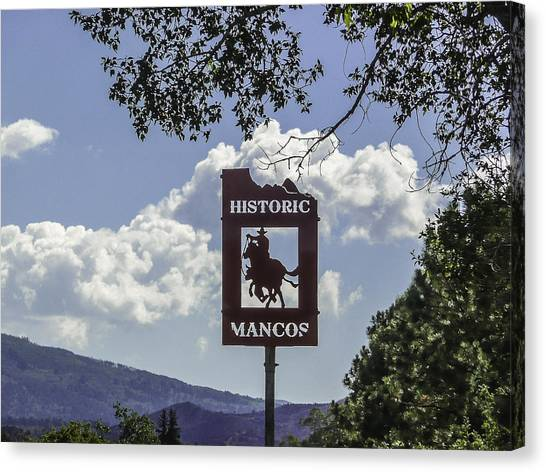 Welcome To Mancos Colorado Sign Canvas Print