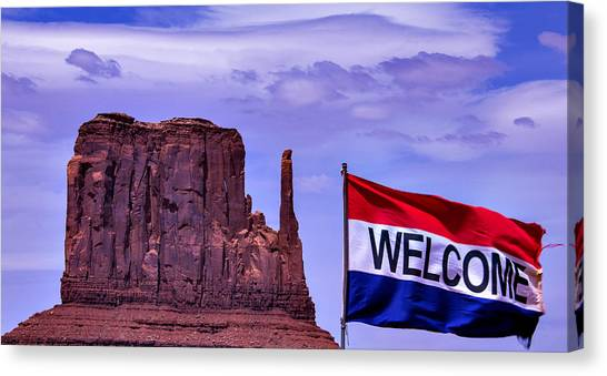 Gay Flag Canvas Print - Welcome To Monument Valley by Garry Gay