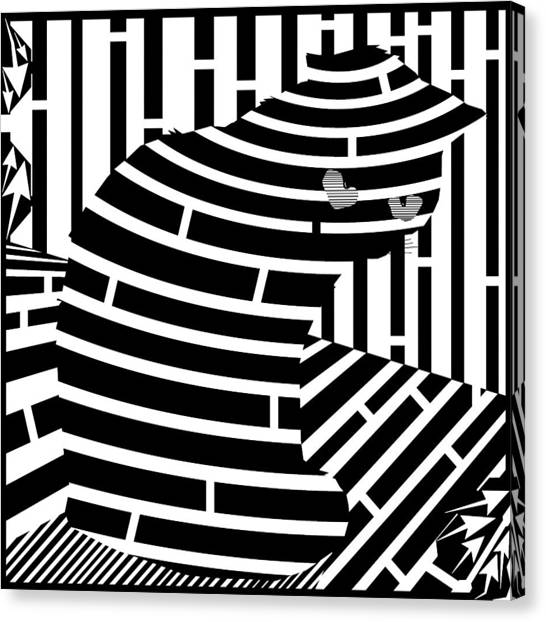 Welcome To The Cat Side Maze Canvas Print by Yonatan Frimer Maze Artist