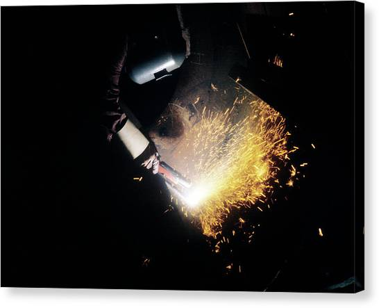 Protective Clothing Canvas Print - Welder by Ton Kinsbergen/science Photo Library