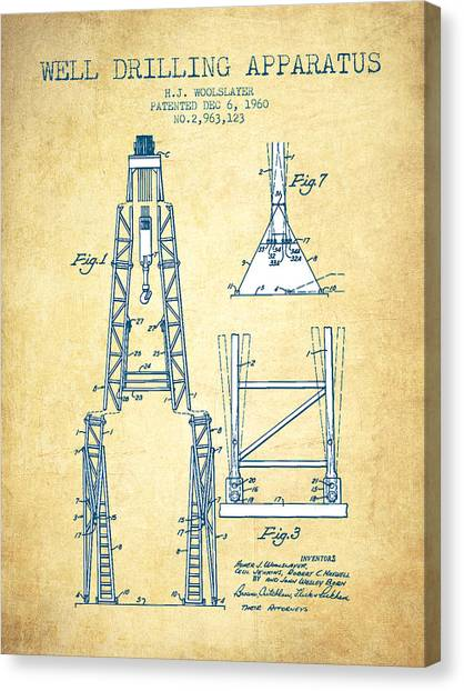 Oil Rigs Canvas Print - Well Drilling Apparatus Patent From 1960 - Vintage Paper by Aged Pixel