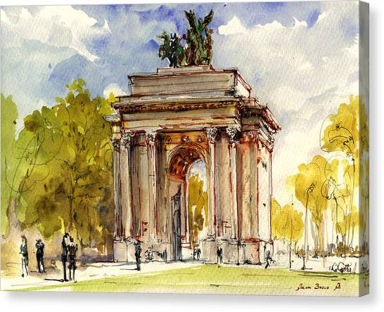 Hyde Park Canvas Print - Wellington Arch by Juan  Bosco