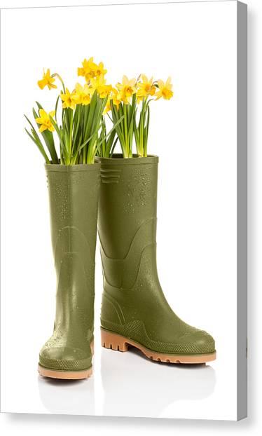 Spring Canvas Print - Wellington Boots by Amanda Elwell