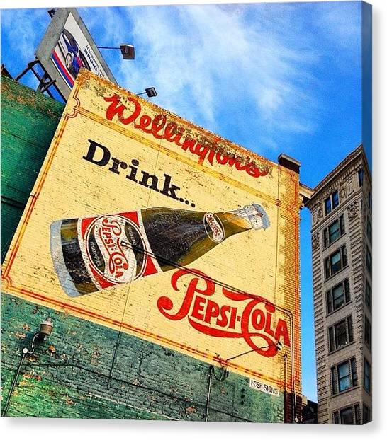Pepsi Canvas Print - #wellingtons #pepsicola #billboard by Mark Lindal