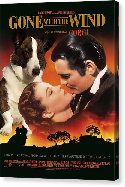 Gone With The Wind Canvas Print - Welsh Corgi Cardigan Art Canvas Print - Gone With The Wind Movie Poster by Sandra Sij