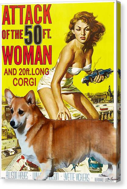 Welsh Corgi Pembroke Art Canvas Print - Attack Of The 50ft Woman Movie Poster Canvas Print